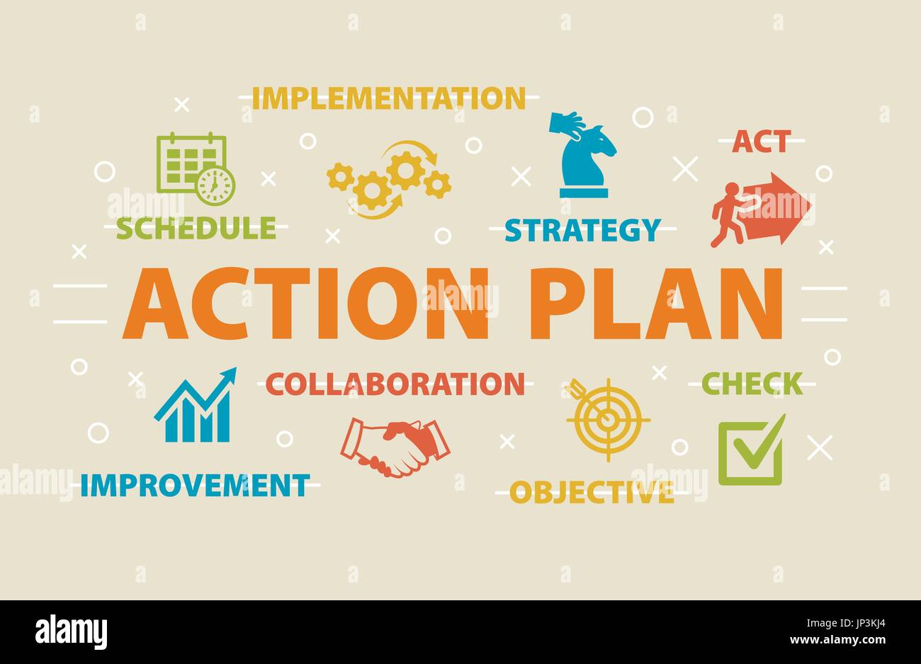Aktionsplan-Konzept mit Symbolen Vektor Abbildung - Bild: 151286636 ...