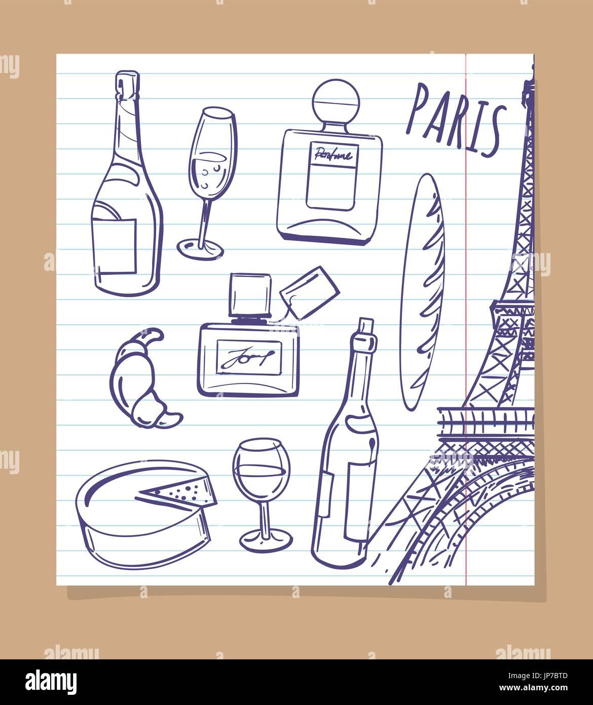 Symbole von Paris skizzieren. Vektor-beliebte französische Speisen ...