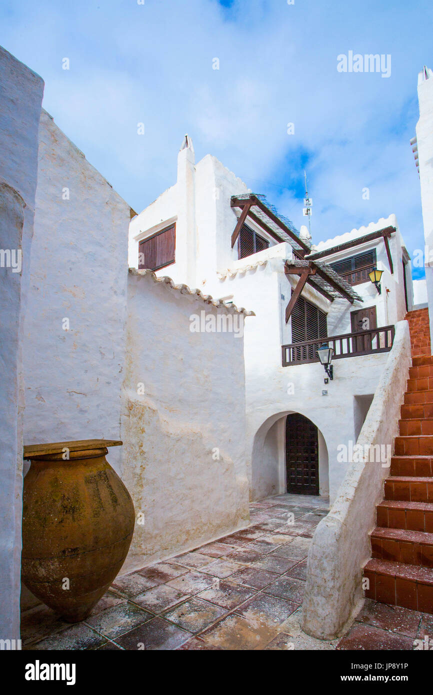 Spanien Balearen Insel Menorca, alte Fischerdorf Binibeca Stockfoto
