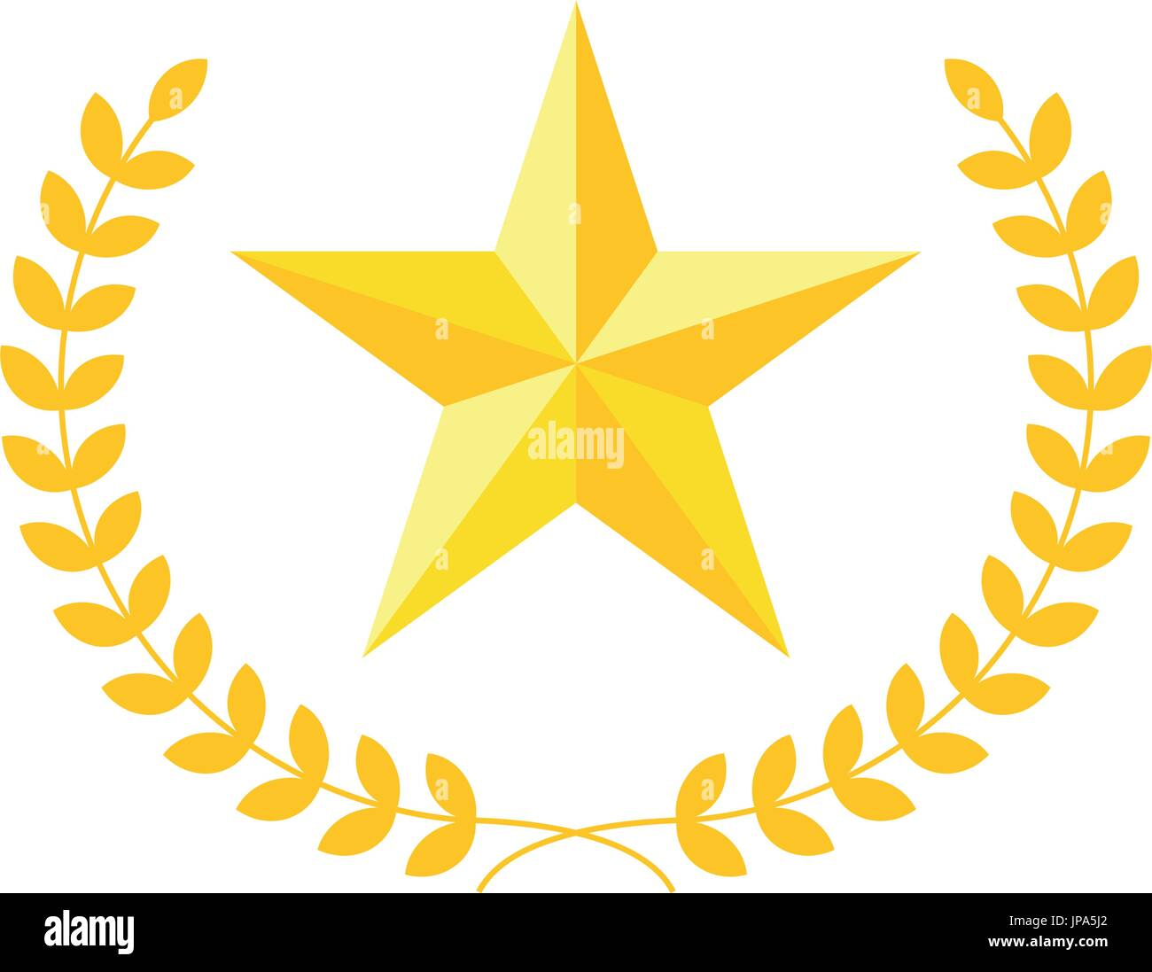 Fünfzackige Sterne Vektor Icon mit Lorbeerkranz. Moderne Wohnung ...
