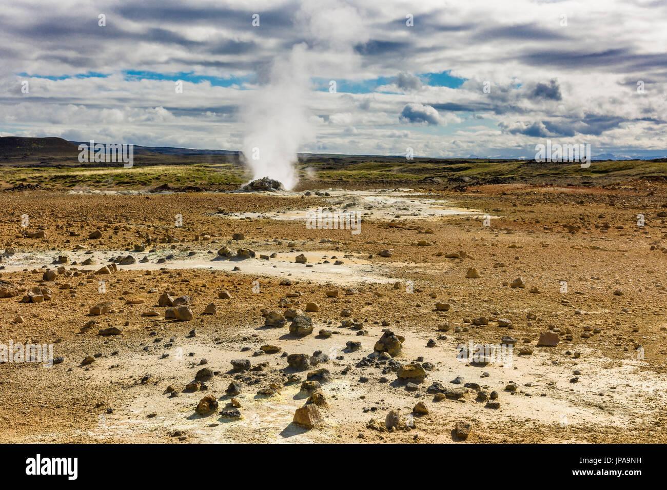 Námafjall Hverir Geotermal Bereich Stockbild
