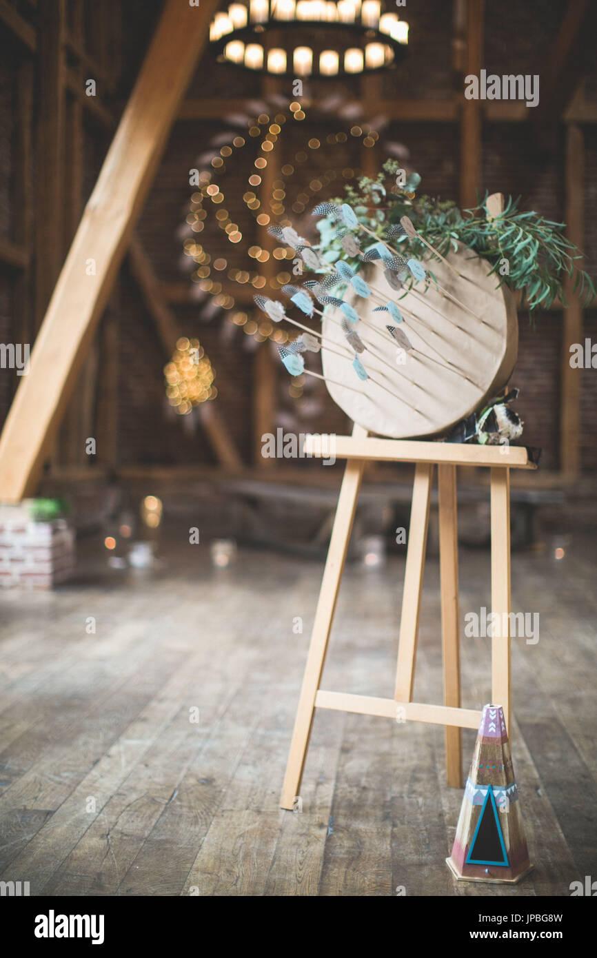 Indische Hochzeit Dekoration In Einer Scheune Stockfoto Bild