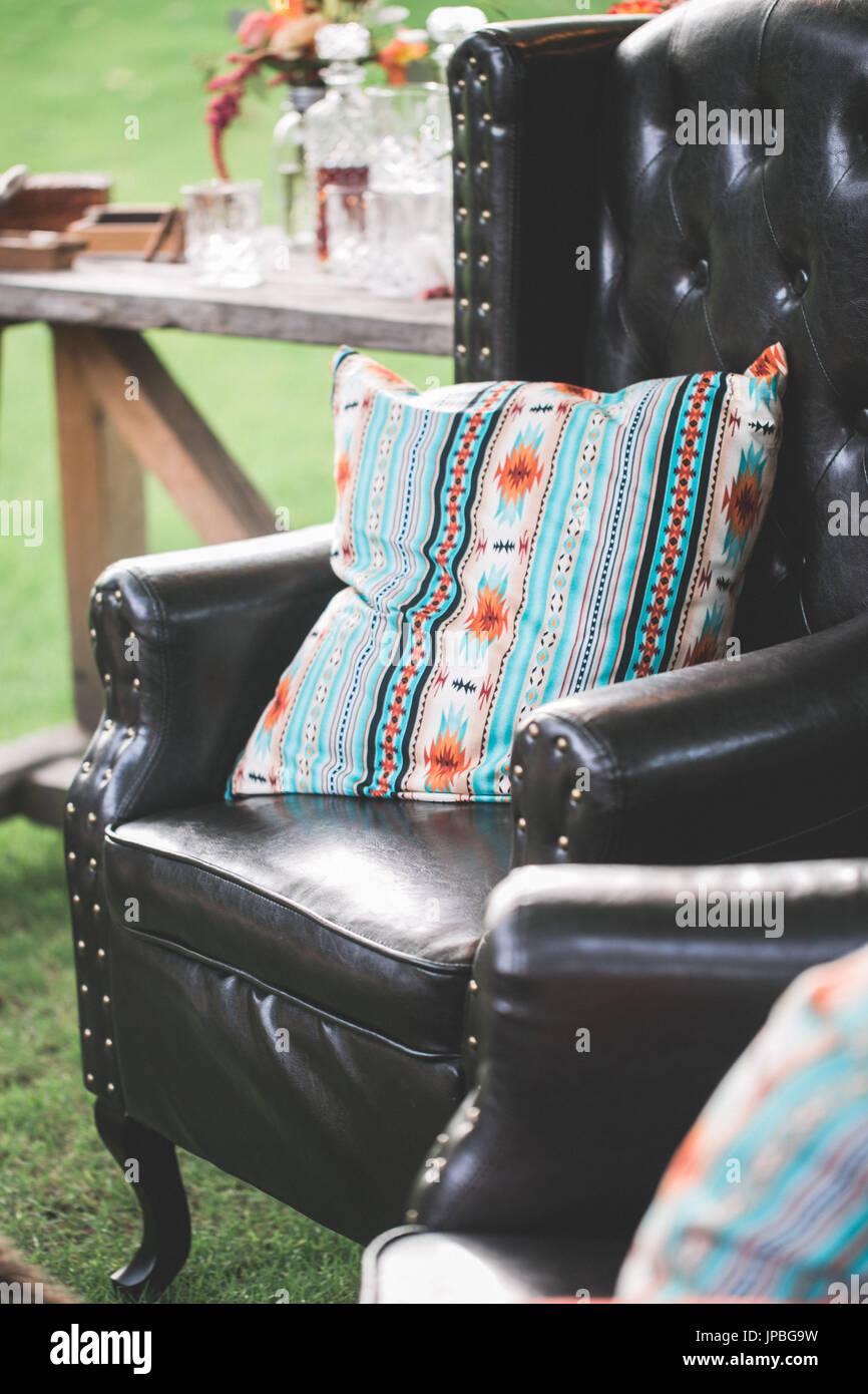 Garten Sitzgelegenheiten bei alternativen Feier Stockbild