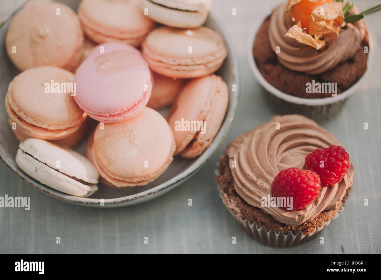 Desserts auf alternative Hochzeitsfeier, detail Stockbild
