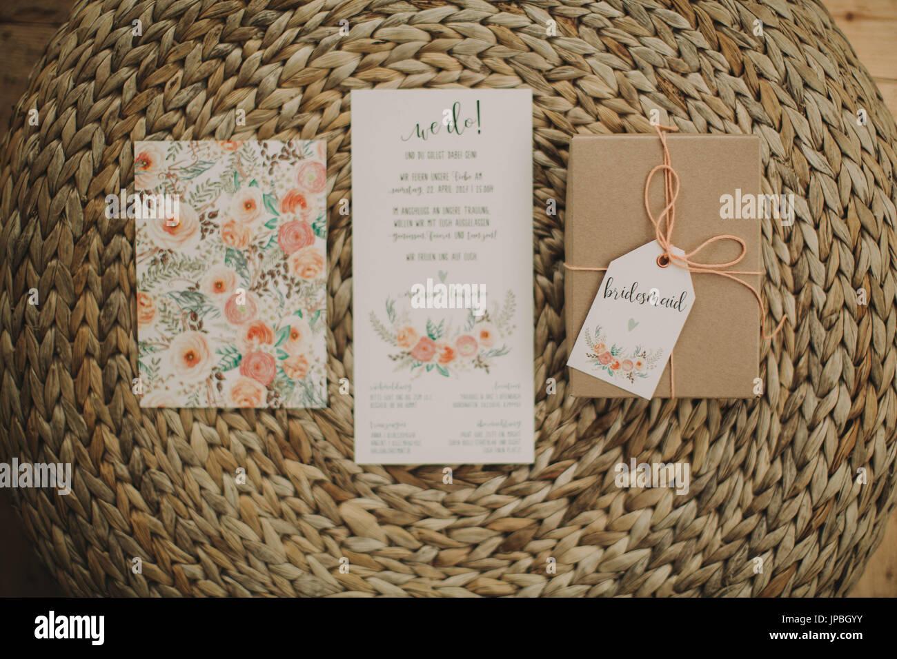 Alternative Hochzeit, Einladung, zu präsentieren, Stockbild