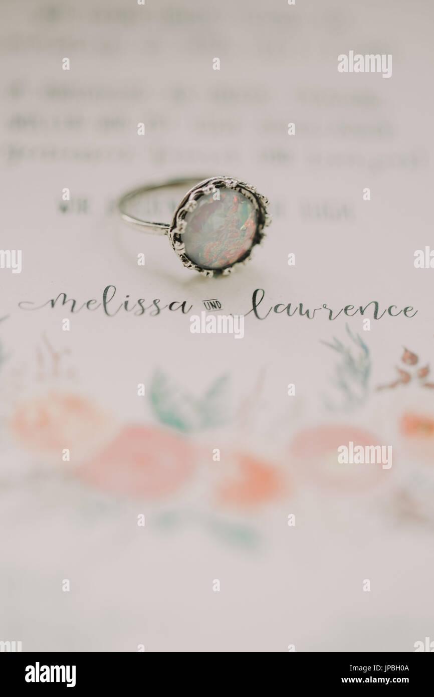 Alternative Hochzeit, Einladung, ring Stockbild