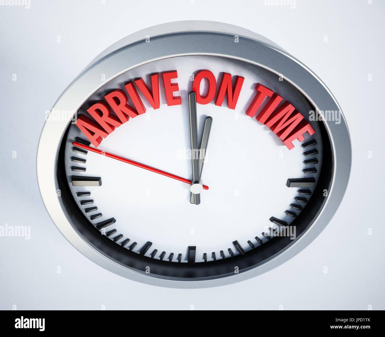 Uhr mit Ankunft auf Zeit-Text. 3D Illustration. Stockbild