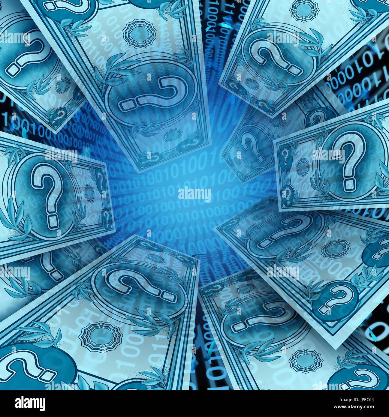 Cryptocurrency und digitales Geld wie Bitcoin oder des Astraleums digital Internet Währung wirtschaftlichen Konzept als Online electronic funds Transaktion. Stockbild