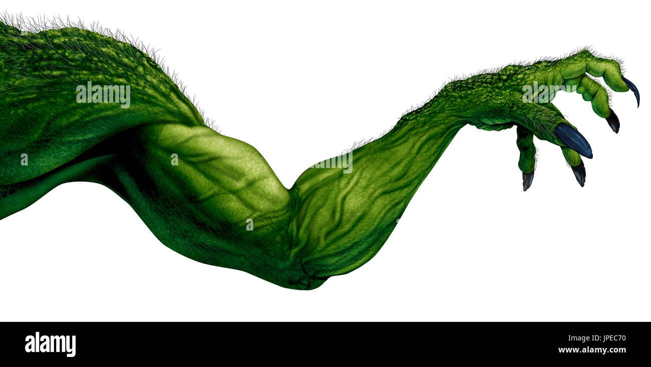 Monster arm auf einem weißen Hintergrund als grabbing Zombie element Mit spitzen Nägeln und Muskeln wie eine gruselige Halloween isoliert. Stockbild