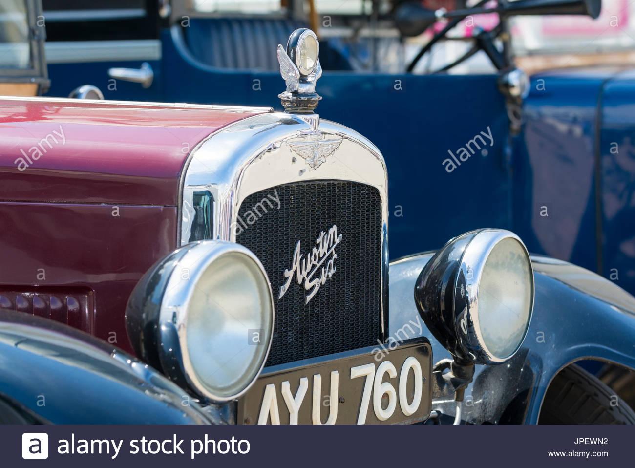 Vorderseite eines Jahrgangs Austin sechs London Taxi aus den 1930er Jahren. Oldtimer Austin 15/5. Stockbild