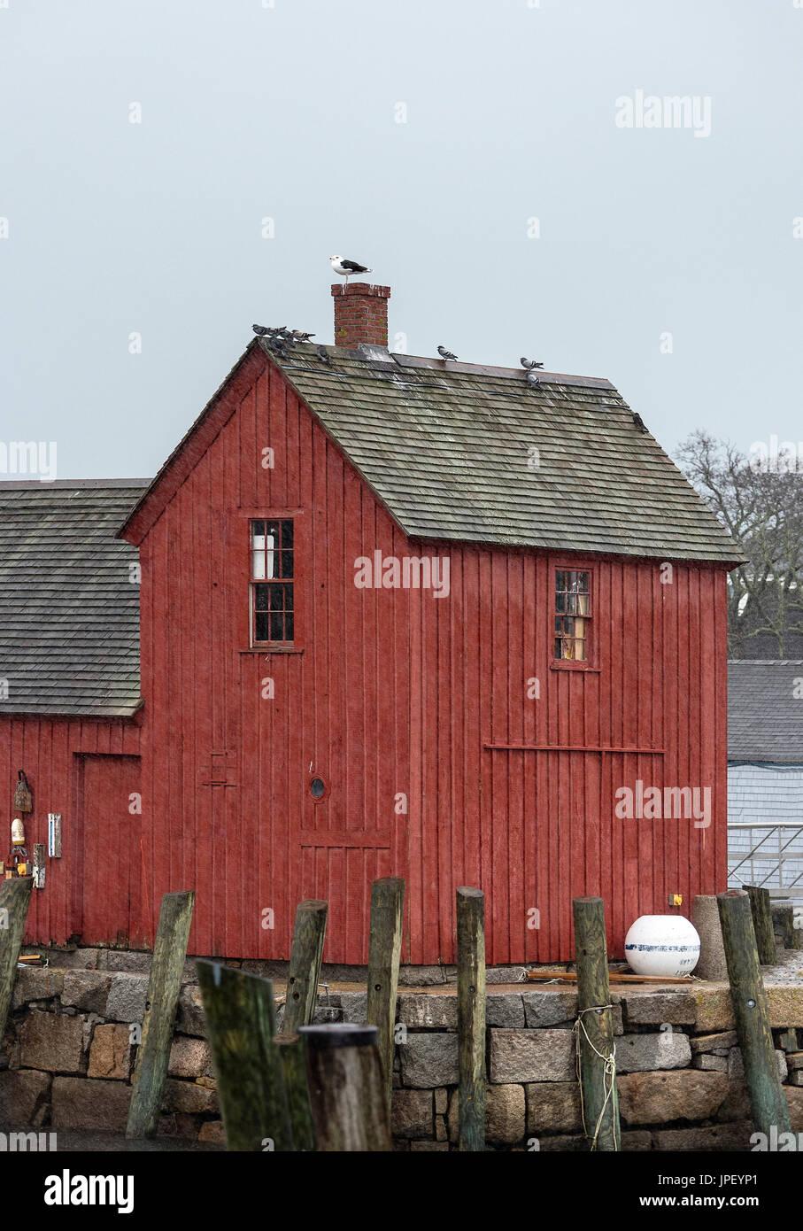 Angeln-Hütte, Motiv Nr. 1, Rockport, Massachusetts, USA. Stockbild
