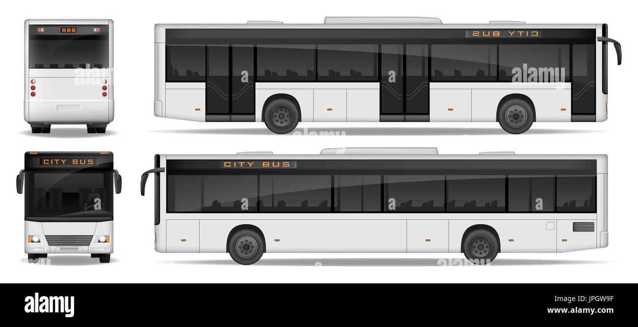 Realistische Stadt Bus Vorlage isoliert auf weißem Hintergrund. Pkw ...