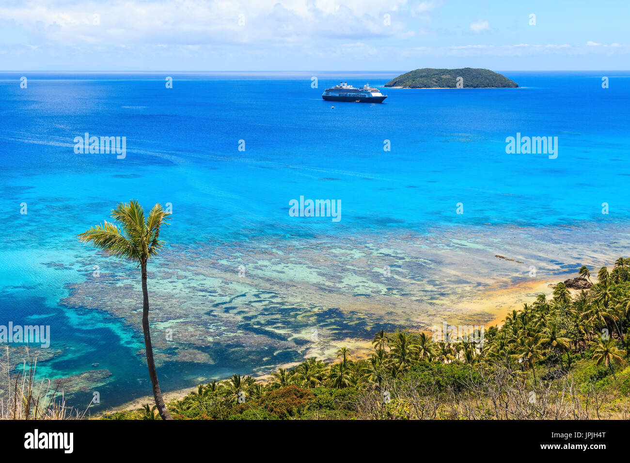 Dravuni Island, Fidschi. Panoramablick auf die Insel im südlichen Pazifik. Stockfoto