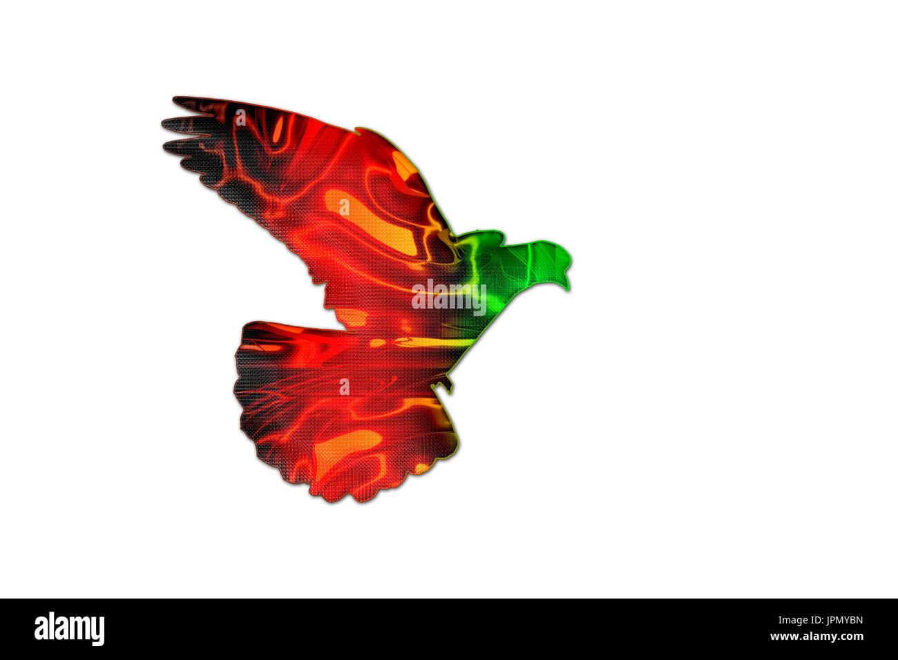 Farben Der Afghanischen Flagge Auf Die Silhouette Der Taube