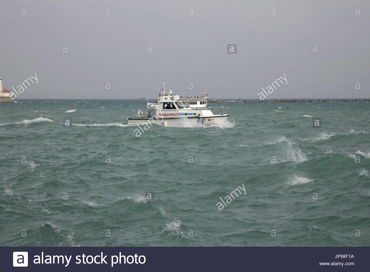 Chicago Polizei stößt die Patrouillen aus Navy Pier, Chicago, Illinois Stockfoto