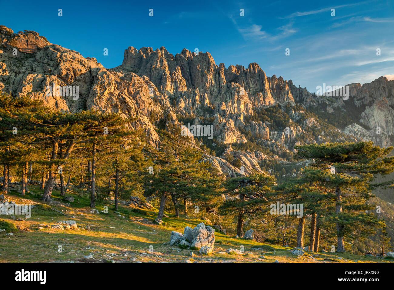 Aiguilles de Bavella, Aussicht bei Sonnenaufgang vom Col de Bavella, Corse-du-Sud, Korsika, Frankreich Stockbild