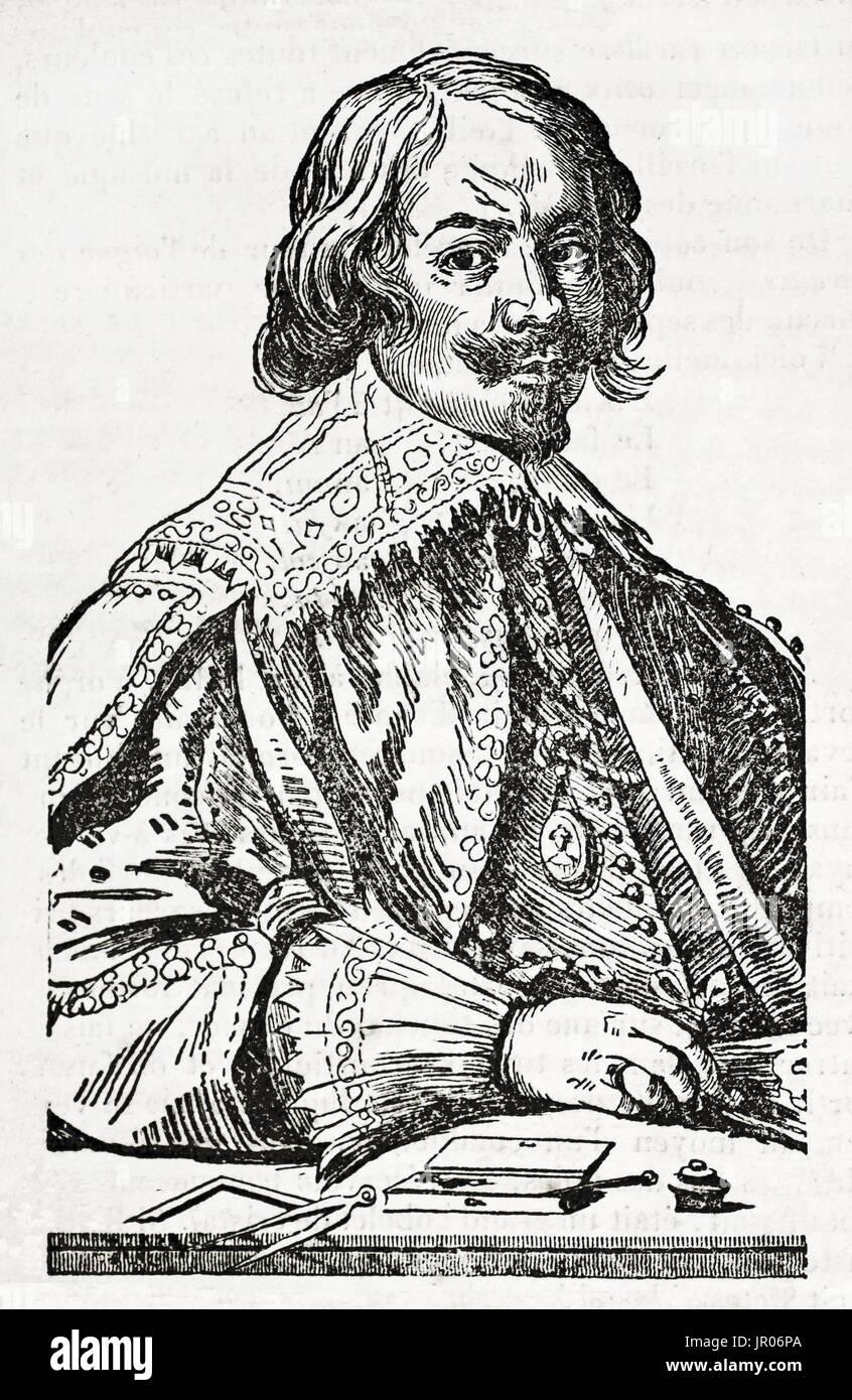 Alten gravierte Porträt von Jacques Callot (1592 ? 1635), barocke Grafiker und Zeichner aus dem Herzogtum Lothringen. Nach van Dyck, veröffentlicht am Magas Stockbild
