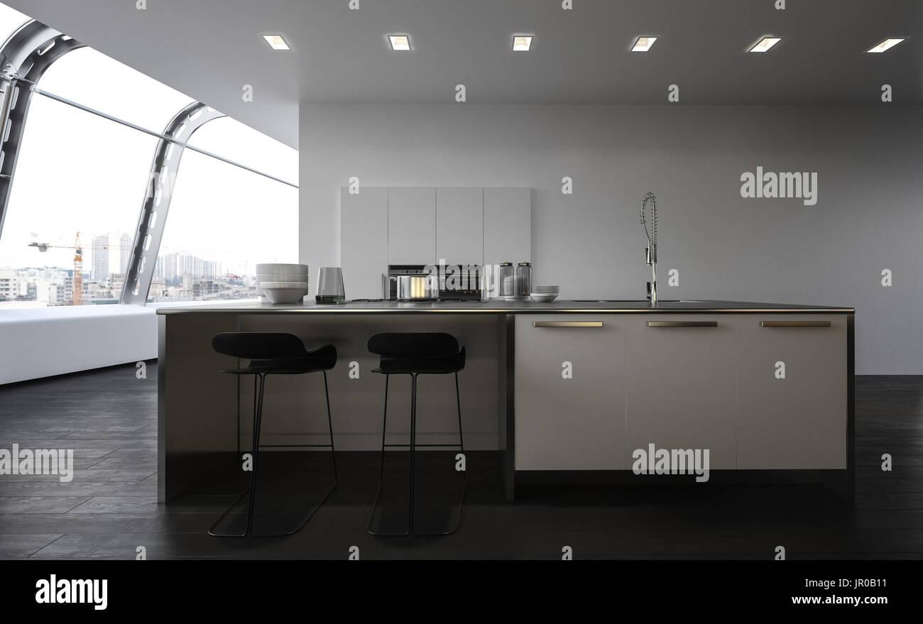 Moderne offene Küche mit Mittelinsel mit Barhockern, Waschbecken und ...