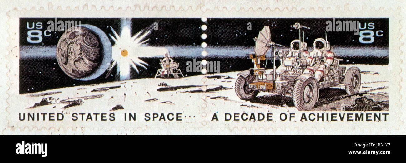 Ein Jahrzehnt der Verwirklichung, U.S. Briefmarke, 1971 Stockbild