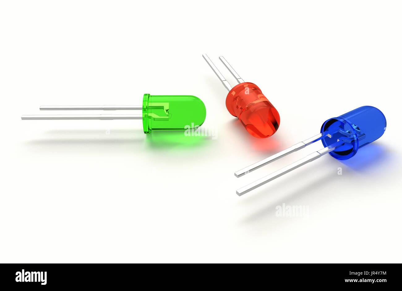 Realistische 3d Render Tricolor 3 Mm Led Diode Rgb Rot Grn Blau Tri Color Wiring Of A Isoliert Auf Weiem Hintergrund Mit Schatten