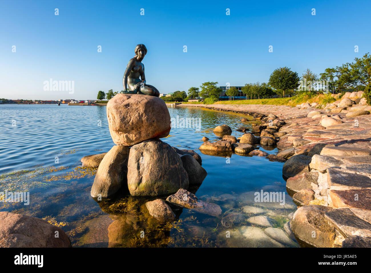 Die berühmte Statue der kleinen Meerjungfrau im Hafen von Kopenhagen Dänemark Stockbild