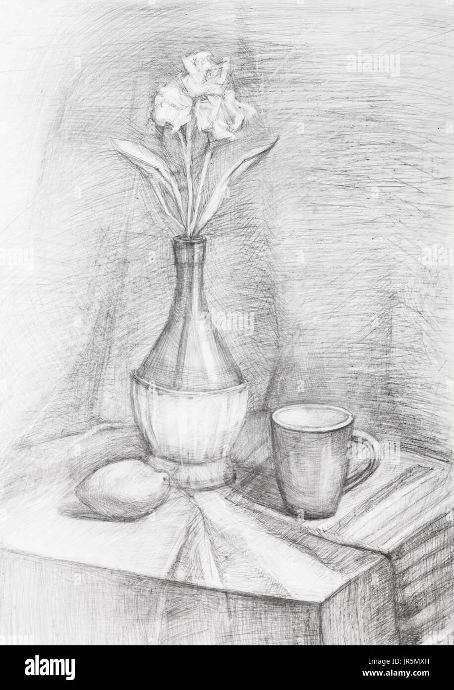 Handgemalte Training Schwarz Weiß Stillleben Mit Blumen In Flasche