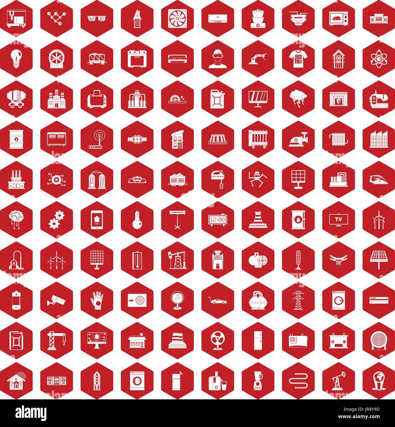 100 Elektrotechnik Symbole Sechseck rot Vektor Abbildung - Bild ...