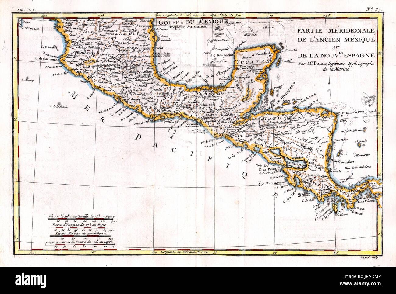 Costa Rica Karte Mittelamerika.1780 Bonne Antike Karte Von Mexiko Und Mittelamerika Einschließlich