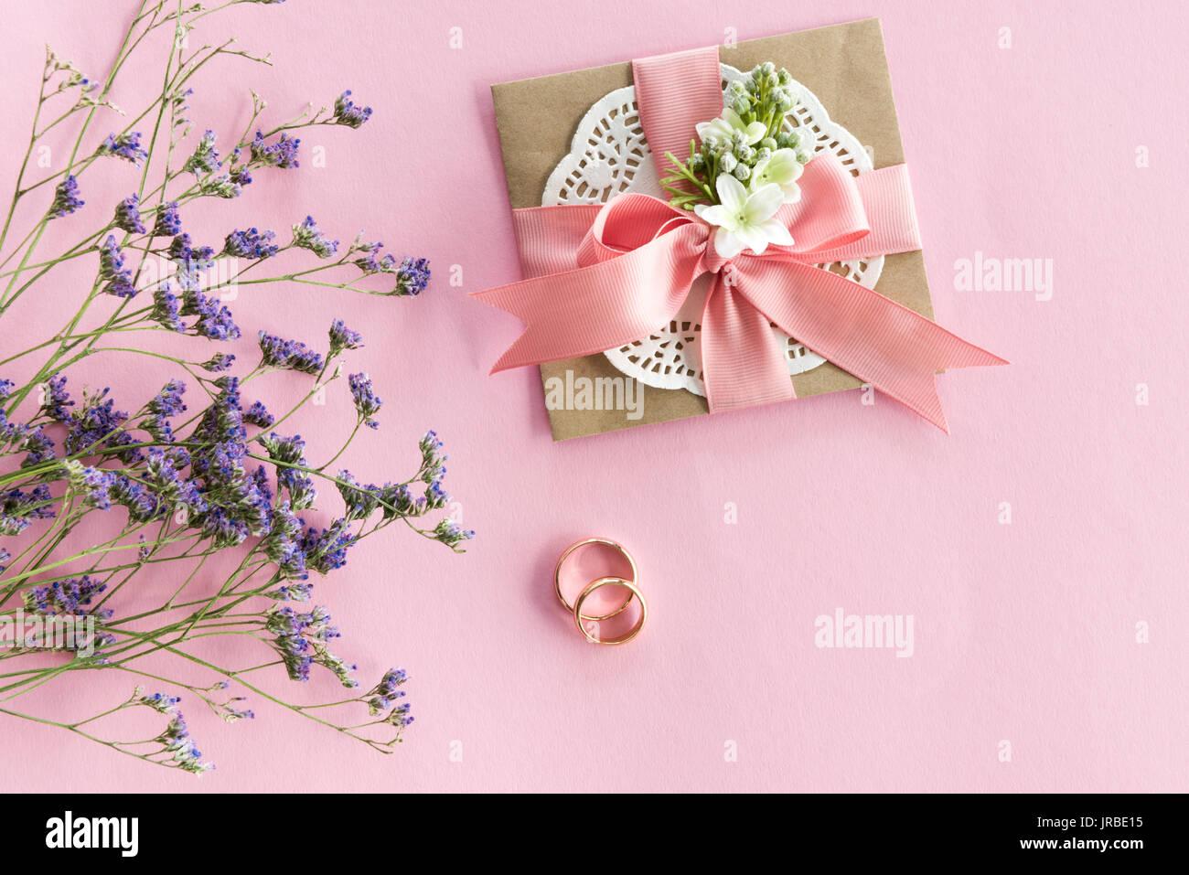 Draufsicht Der Goldene Hochzeit Ringe Dekorativen Umschlag