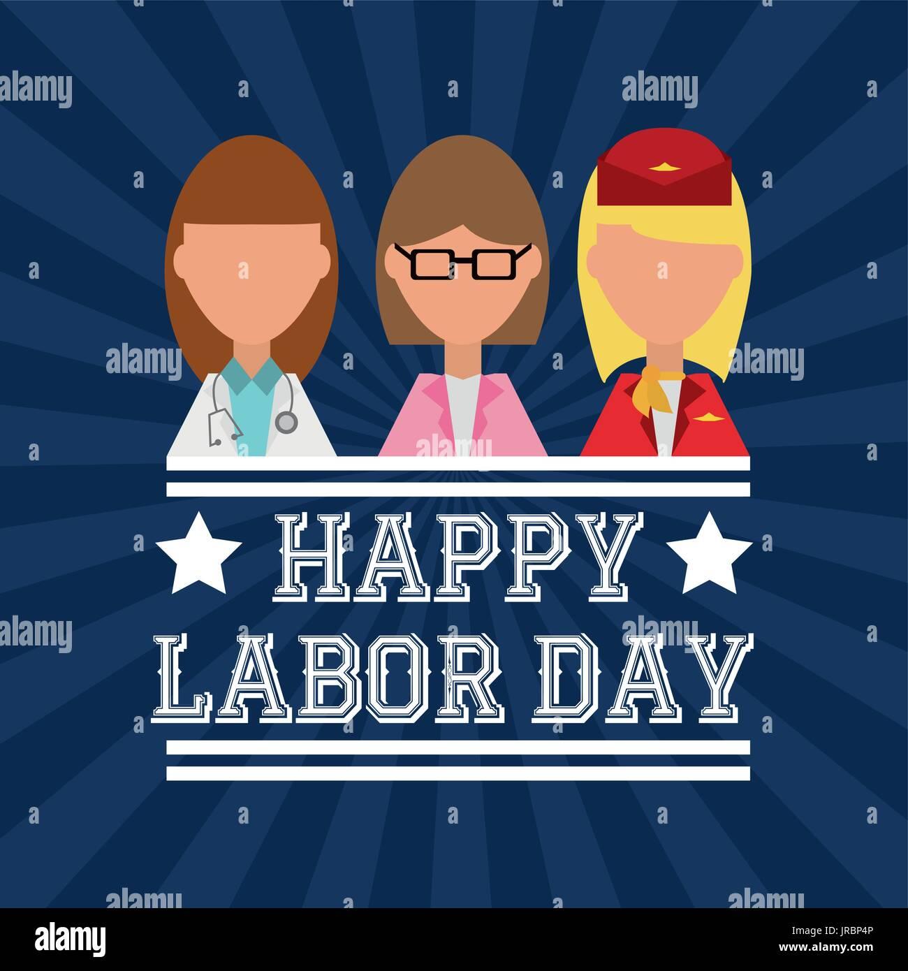 Arbeiter feiern glücklich Tag der Arbeit Vektor Abbildung - Bild ...
