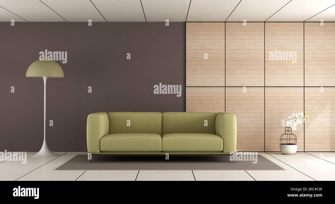 Modernes Wohnzimmer mit Grün , Braun Wand- und ...