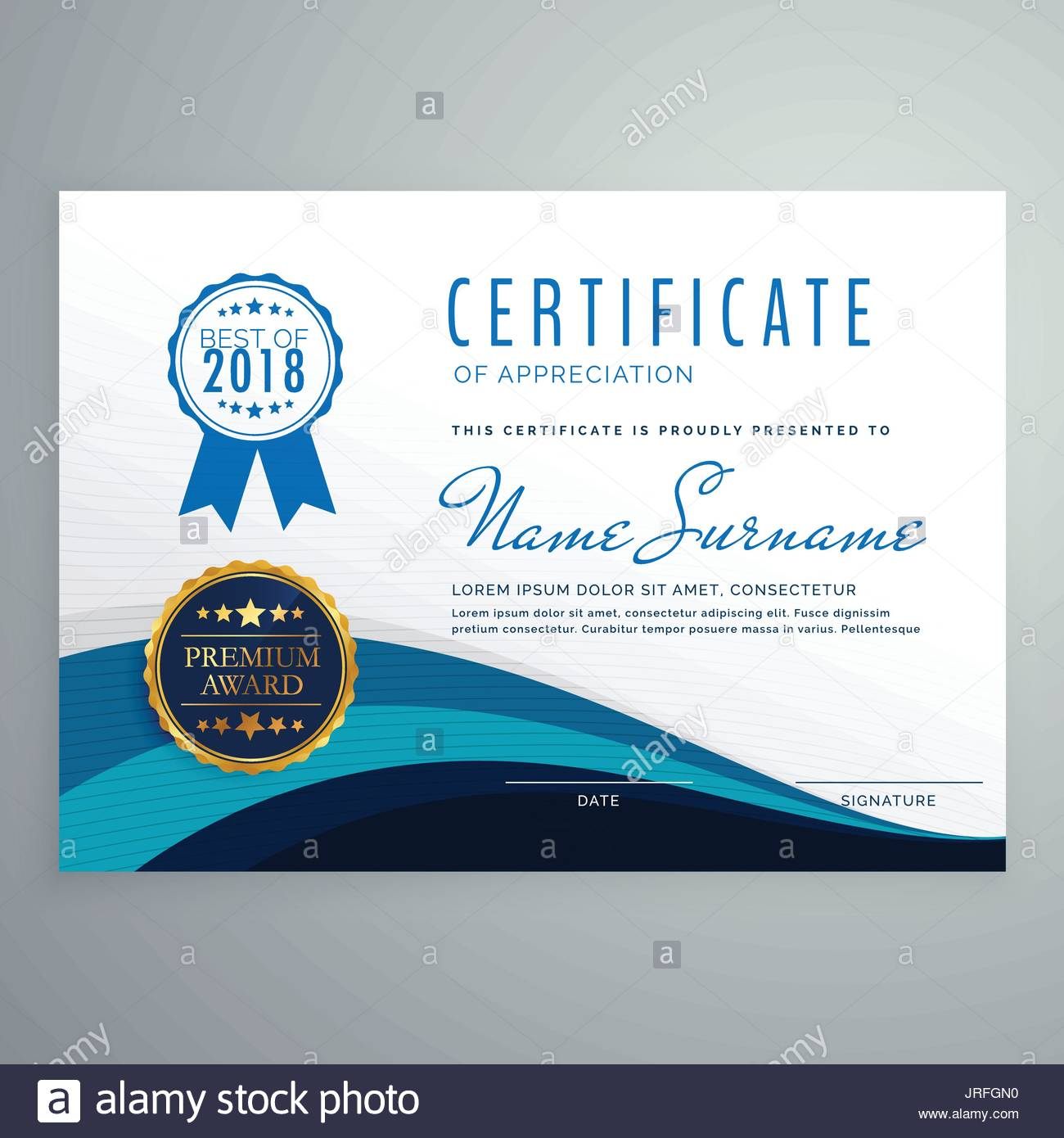 Elegant Appreciation Certificate Template Design Stockfotos ...