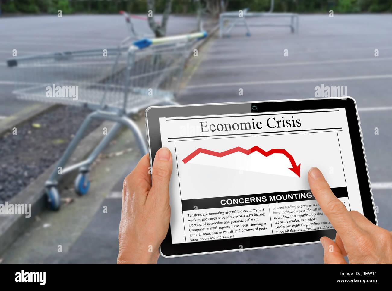 News zu Finanzkrise lesen mit der Hand auf dem Computer tablet Stockbild