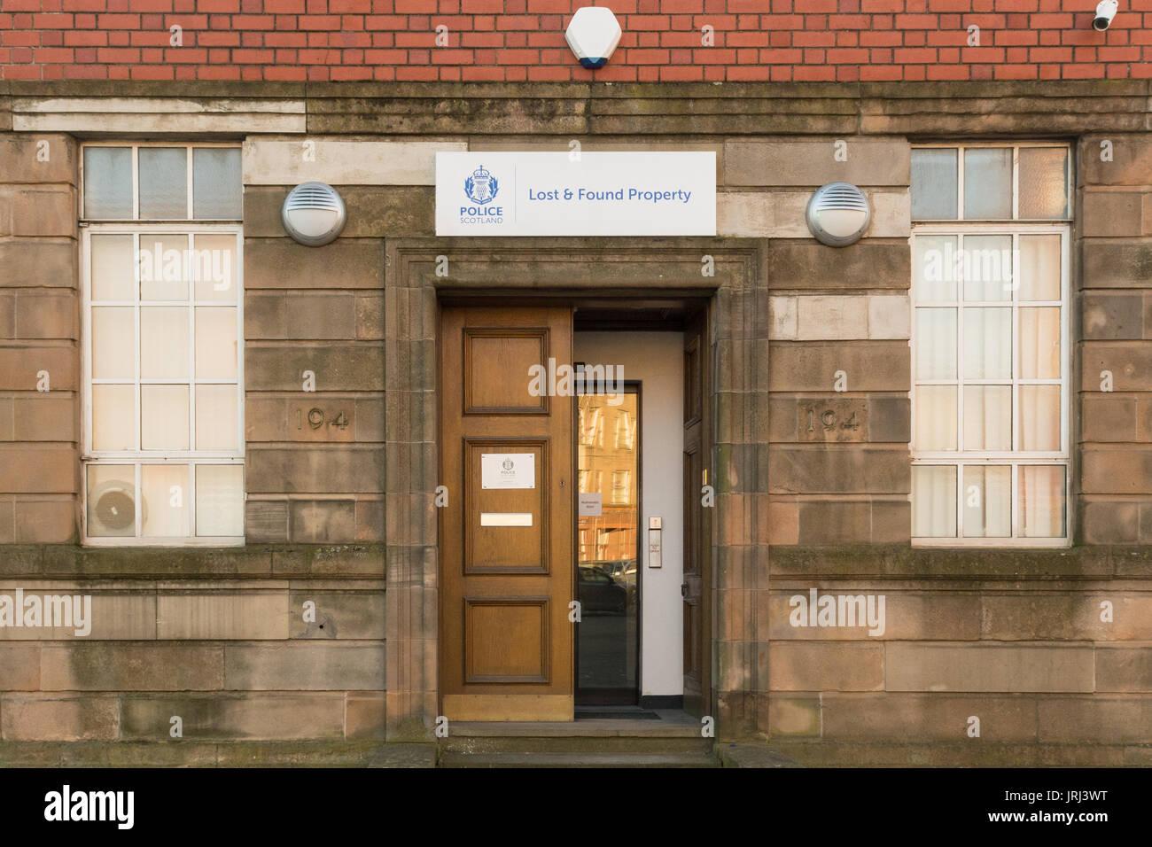 Polizei Glasgow Schottland verloren und Fundbüro, Glasgow, Schottland, Großbritannien Stockbild