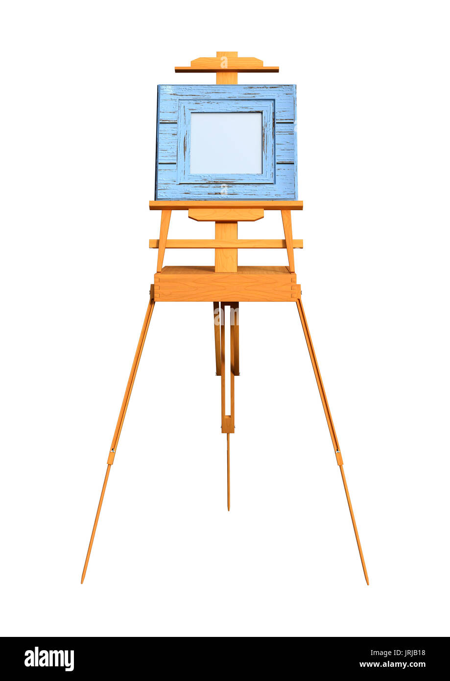 3D-Rendering für eine leere Kunst Rahmen auf eine hölzerne Staffelei ...