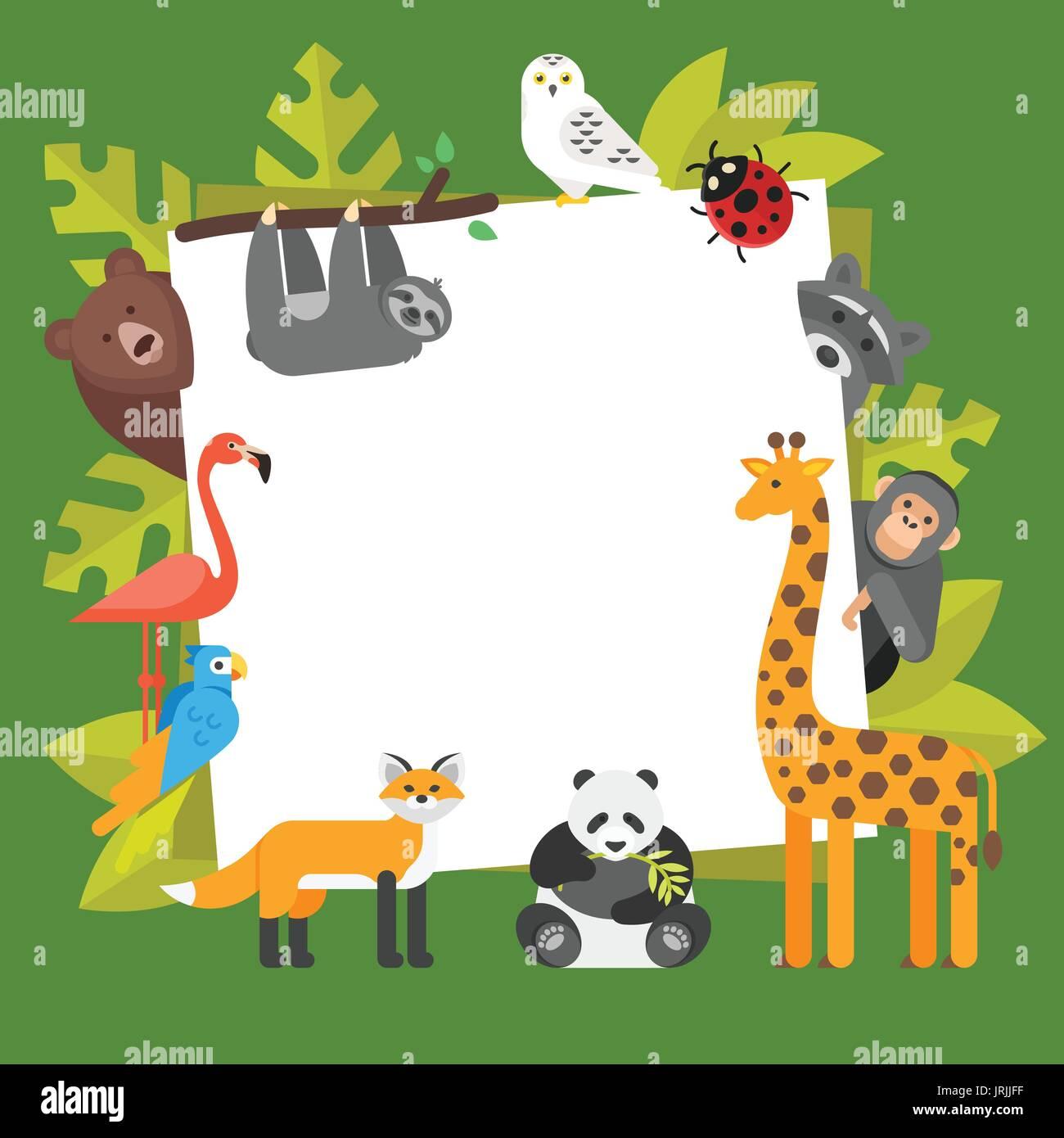 Flache Vektorgrafik von Zootieren. Vorlage für Banner oder Poster ...