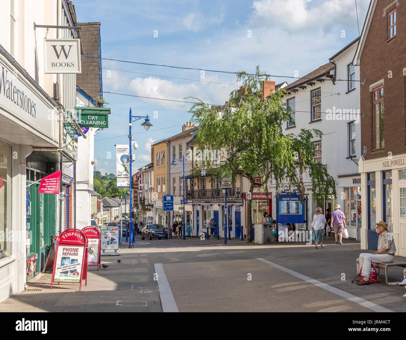 Fußgängerzone Innenstadt, Abergavenny, Wales, Großbritannien Stockbild