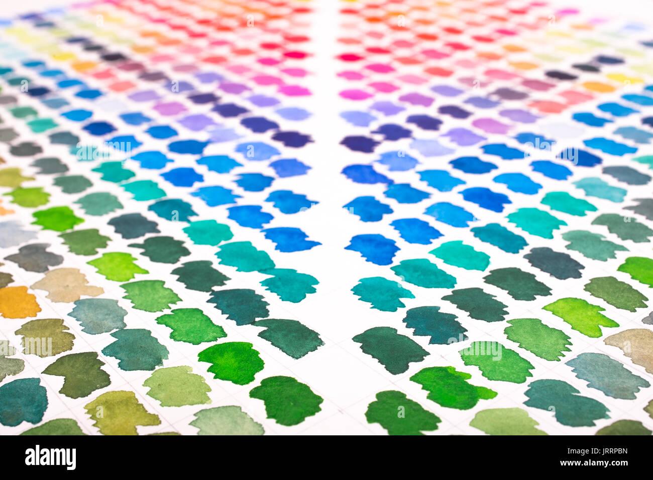 Aquarelle Farbpalette In Grun Blau Violett Turkis Und Rot Stockfotografie Alamy