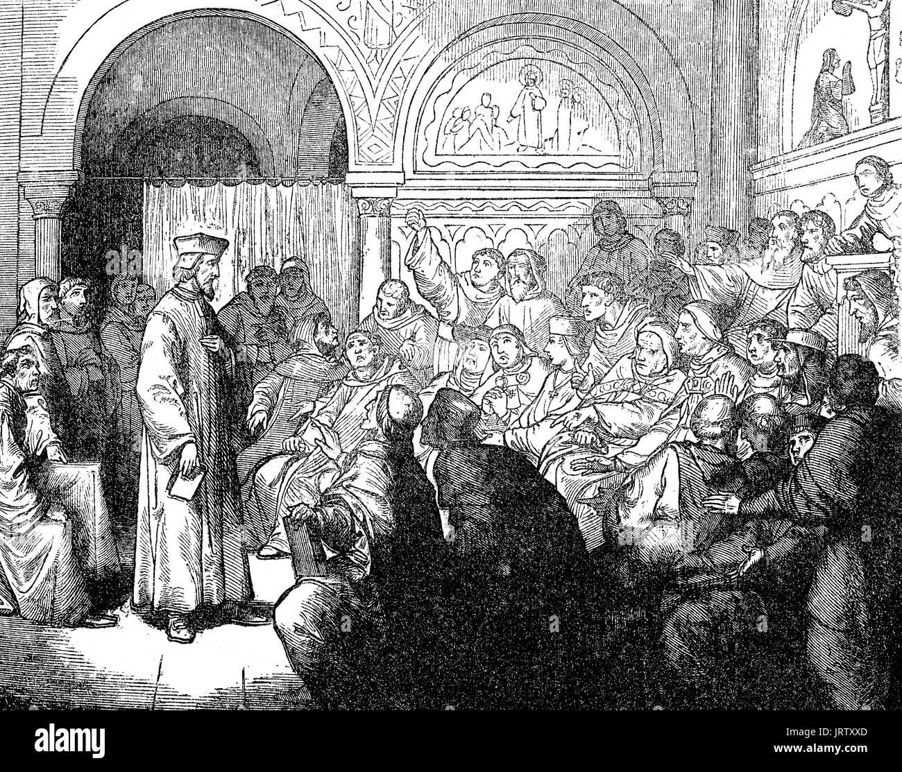 Jan Hus im Konzil von Konstanz, hielt von 1414 bis 1418
