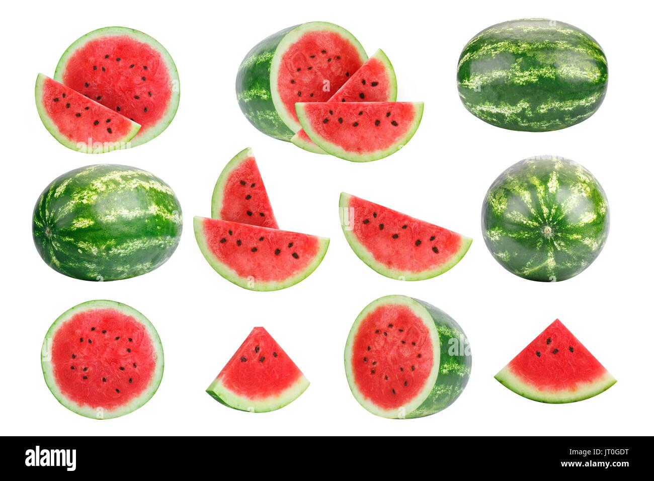 Bilder der Wassermelone auf weißem Hintergrund. Stockbild