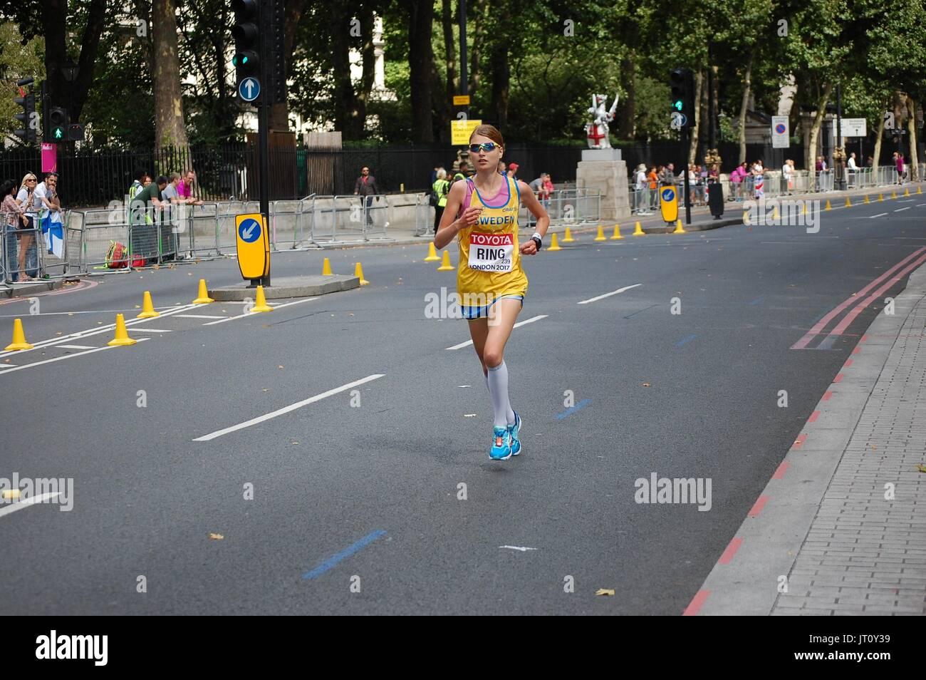 London, UK. 6. August 2017. IAAF World Championships 2017 London Women Marathon Ring Credit: Justas Balciunas/Alamy Live-Nachrichten Stockbild