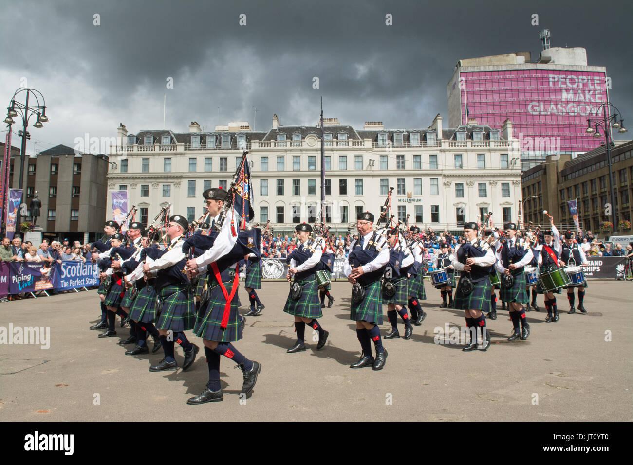 George Square, Glasgow, Schottland, Großbritannien. 7 Aug, 2017 Rohrleitungen Live! - Der Glasgow International Stockfoto