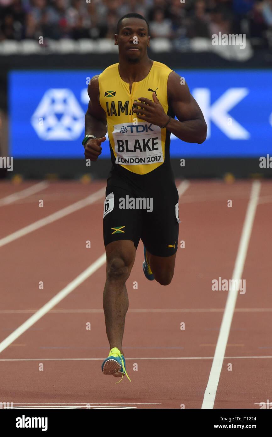 London, UK. 7. August 2017. Yohan BLAKE, Jamaika, in 200 Meter Vorläufen in London am 7. August 2017 an die IAAF World Championships Athletics 2017. Bildnachweis: Ulrik Pedersen/Alamy Live-Nachrichten Stockbild
