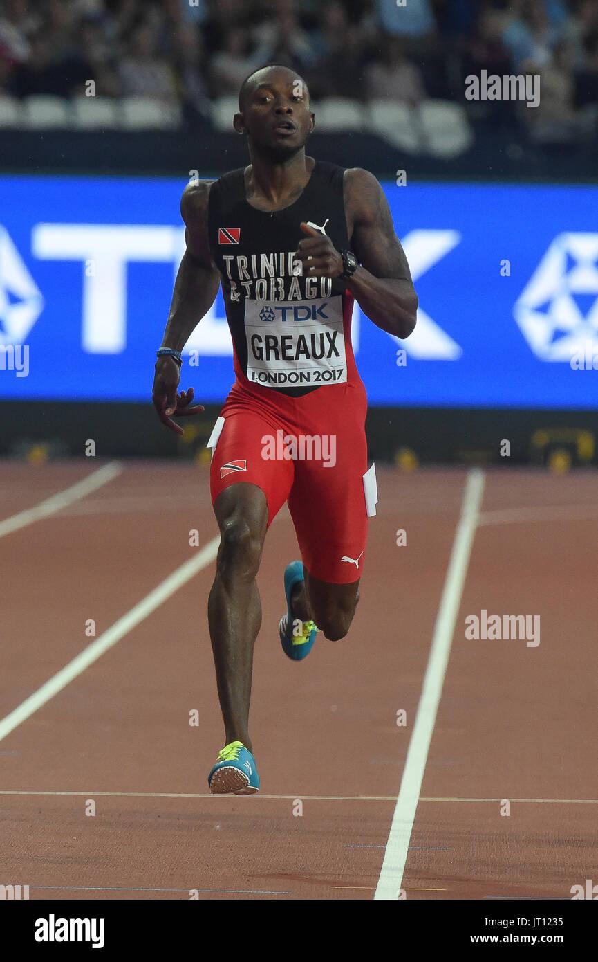 London, UK. 7. August 2017. Kyle GREAUX, Trinidad Tobago, 200 Meter Vorläufen in London am 7. August 2017 an die IAAF World Championships Athletics 2017. Bildnachweis: Ulrik Pedersen/Alamy Live-Nachrichten Stockbild