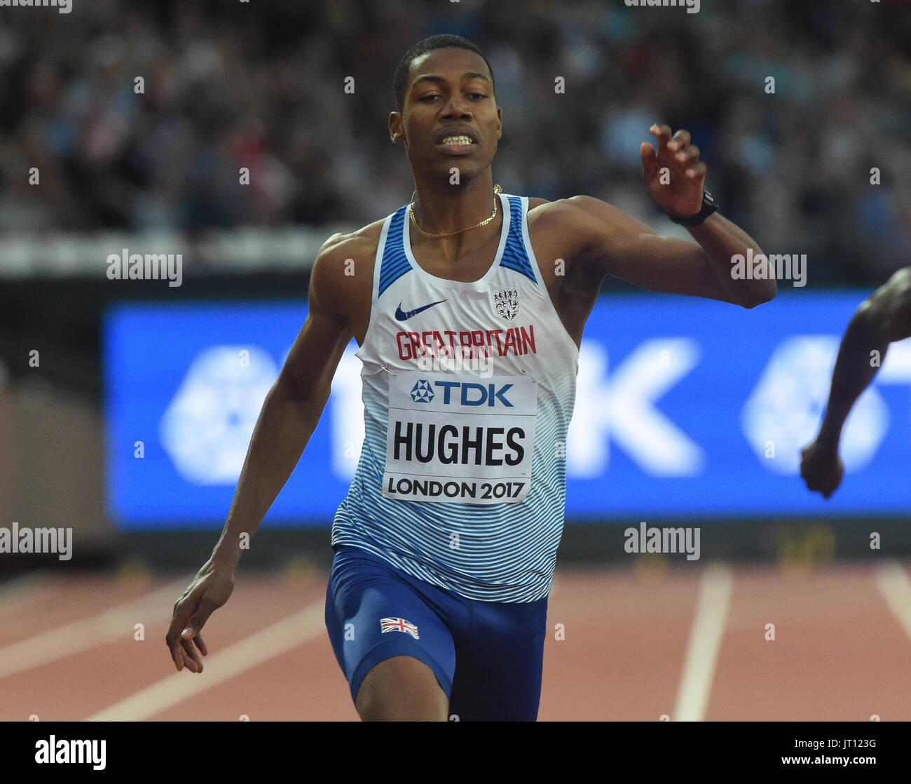 London, UK. 7. August 2017. Zharnel HUGHES, Groß Britannien, in 200 Meter Vorläufen in London am 7. August 2017 an die IAAF World Championships Athletics 2017. Bildnachweis: Ulrik Pedersen/Alamy Live-Nachrichten Stockbild