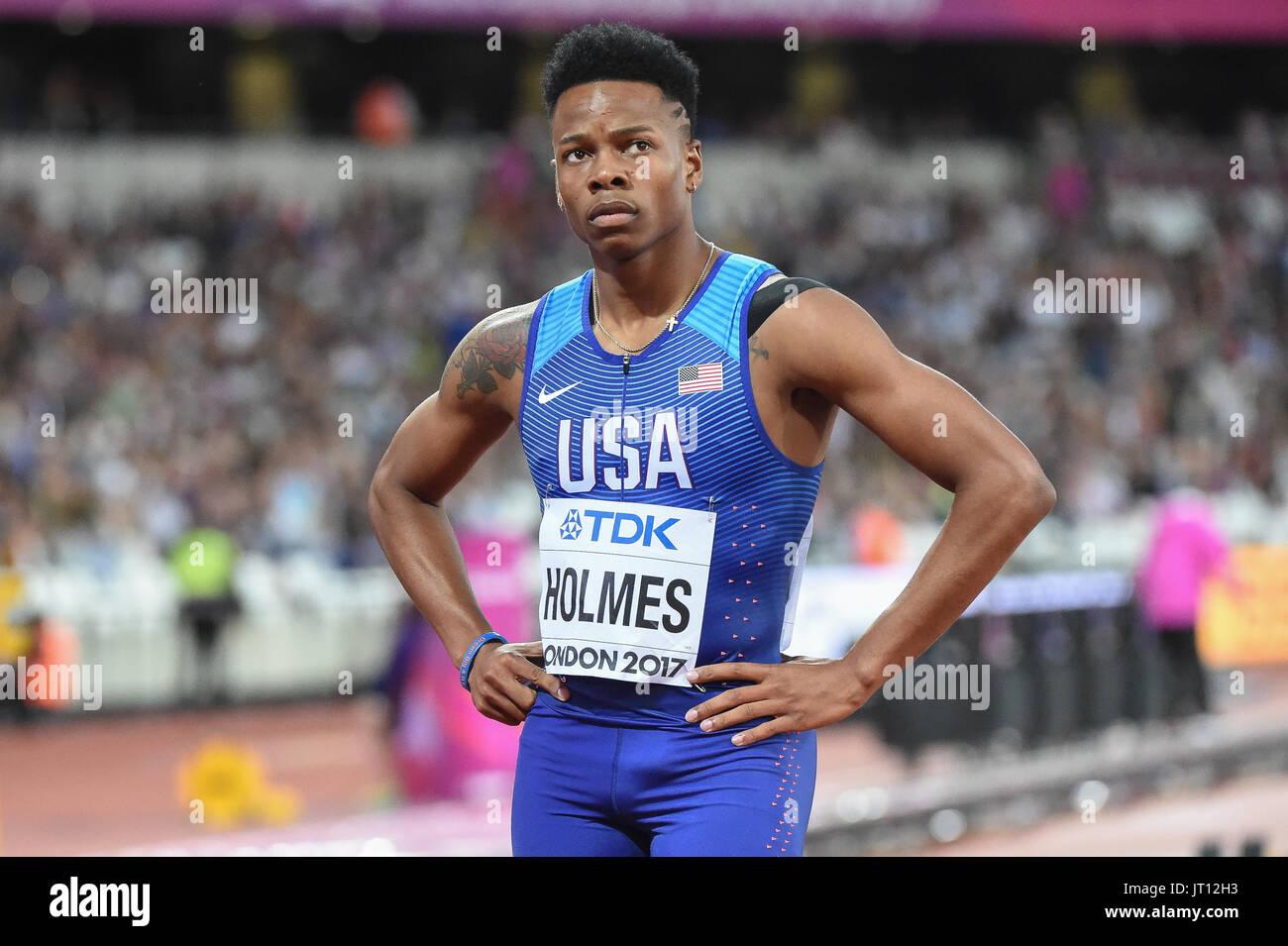 London, UK. 7. August 2017. TJ HOLMES, USA in 400 Meter Hürde Heats in London am 7. August 2017 an die IAAF World Championships Athletics 2017. Bildnachweis: Ulrik Pedersen/Alamy Live-Nachrichten Stockbild