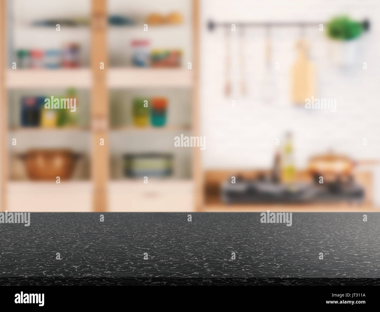 Schwarzer Granit Arbeitsplatte mit küchenschrank Hintergrund ...