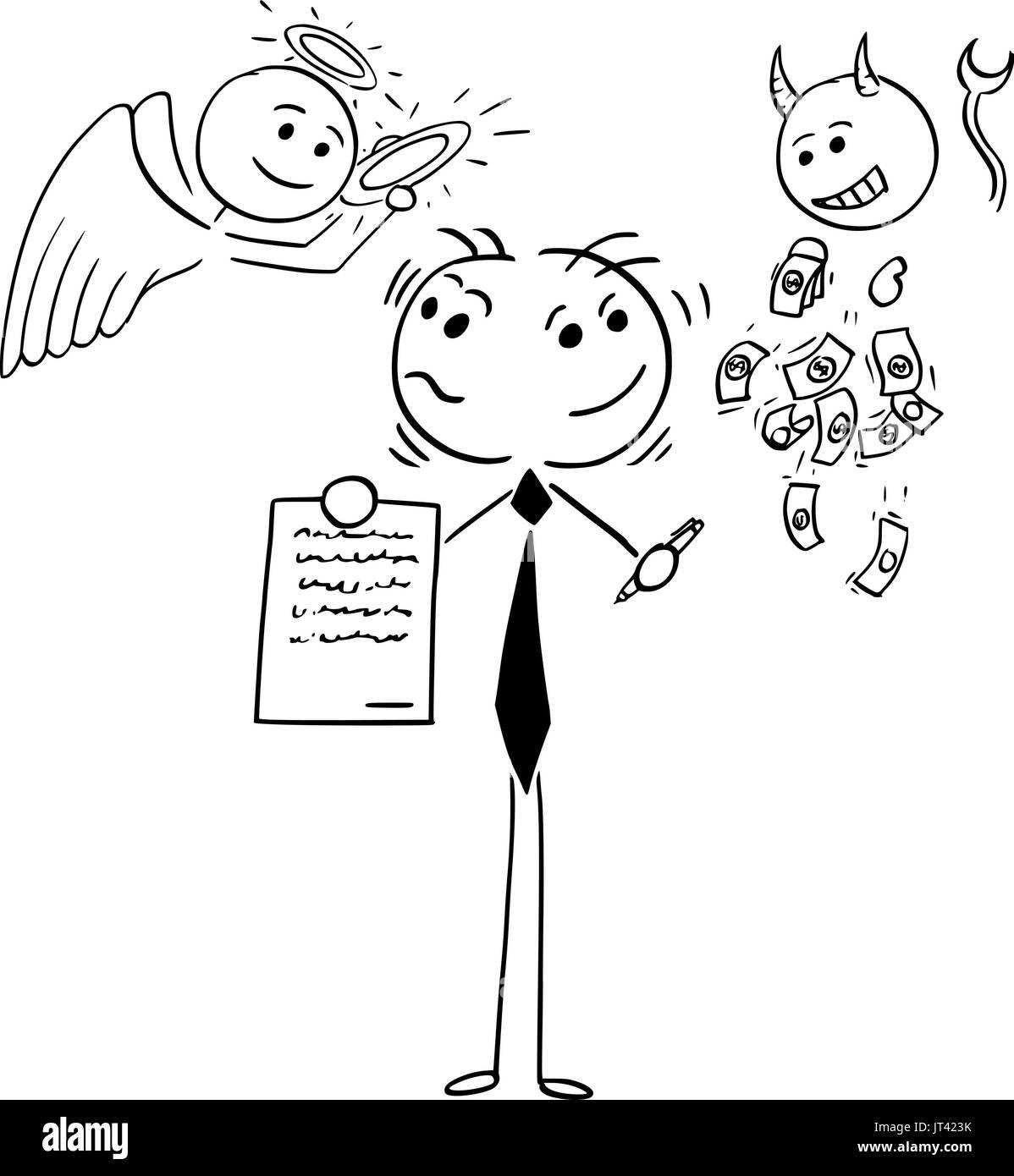 Cartoon Illustration Der Stick Mann Geschäftsmann Oder Verkäufer