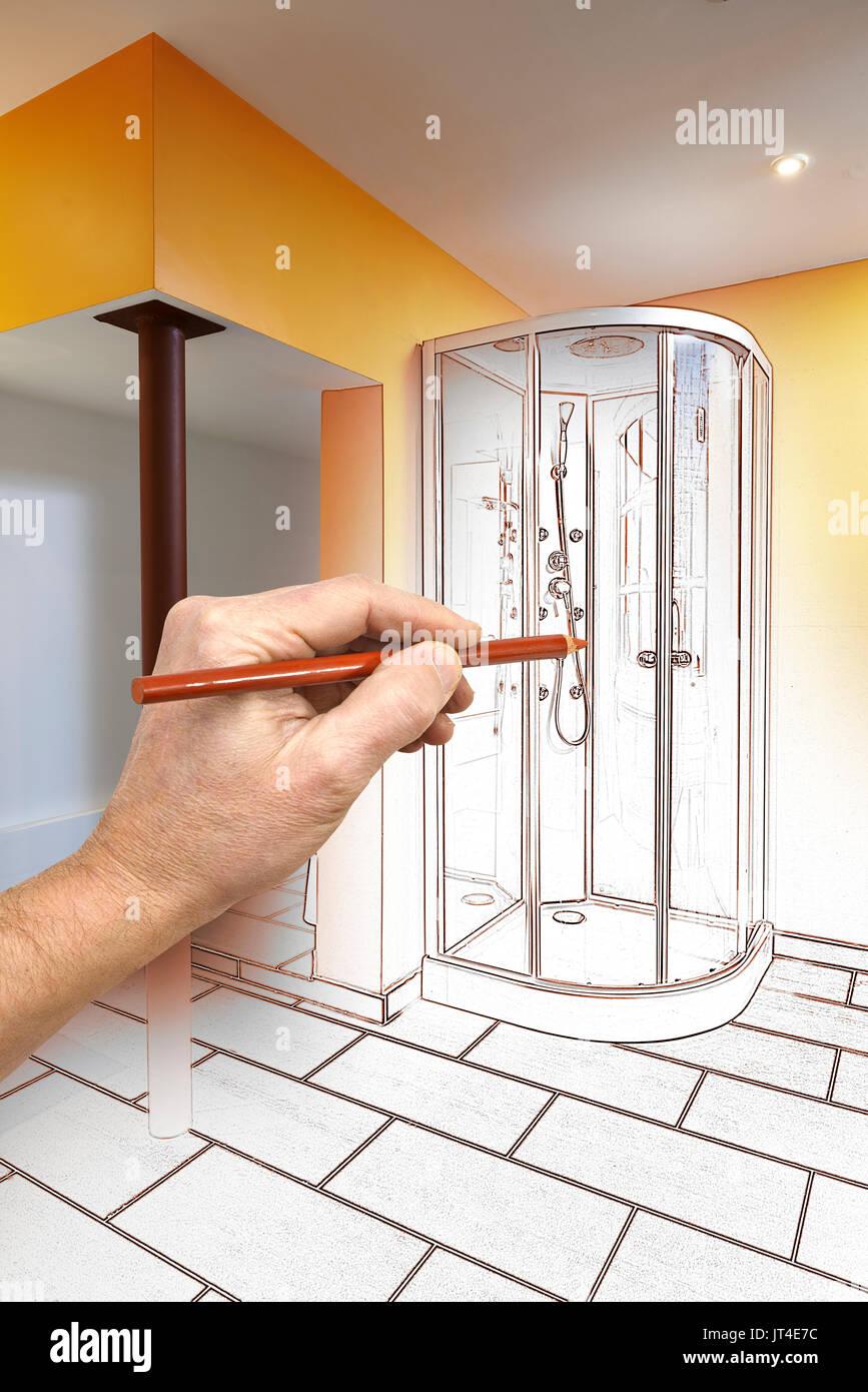 Zeichnung Renovierung Eines Modernen Badezimmer Mit Dusche