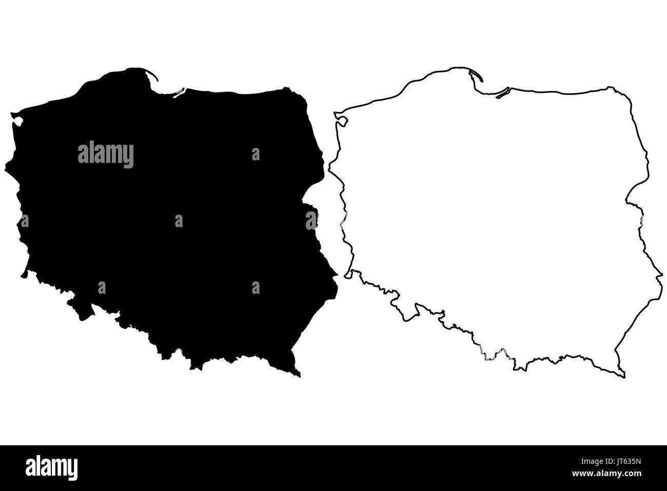 Polen Karte Umriss.Polen Karte Vektor Illustration Freihand Skizze Polen Vektor